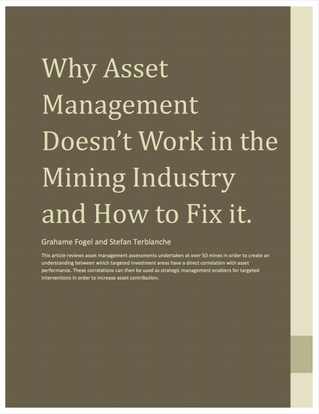 Why Asset Management Doesn't Work in the Mining Industry and How to Fix it
