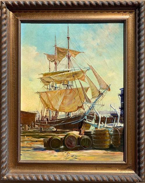 Humberto da Silva Fernandes(1937-2005) Pier, Seascape, Oil Painting on Canvas
