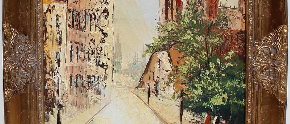 Vintage oil painting on canvas, Cityscape, European street scene, Signed, Framed