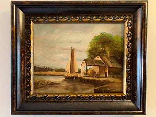 Antique 1888 original oil painting canvas Unsigned, rural landscape, seascape