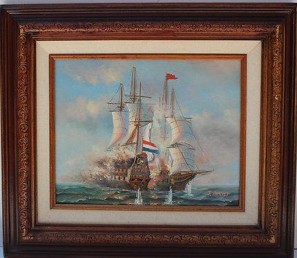 J.Harvey Oil painting on panel, Ships Battle, Signed, Framed