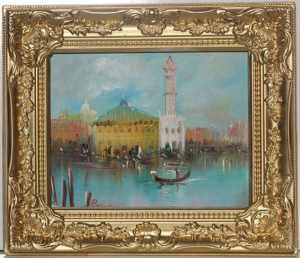 Vintage oil painting on canvas, Italy, Venice, Grand Canal view, Signed Pincus