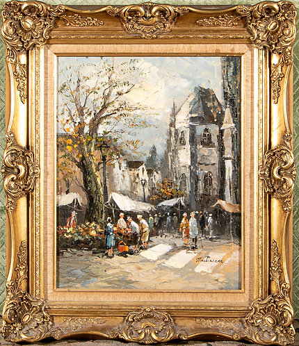 Original oil painting on canvas French street scene, signed Martineam, framed