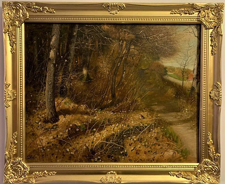 1913 Antique Monogrammed oil painting on canvas, Landscape, Forest in the Autumn