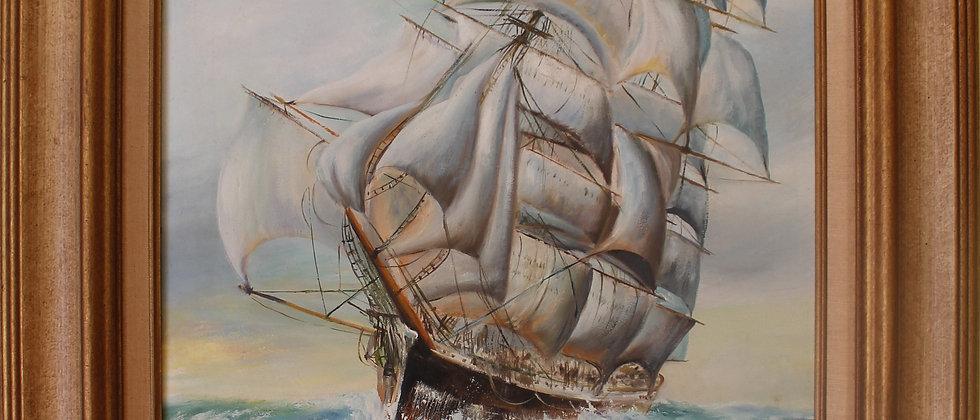 Vintage Oil painting on board, seascape, Sailing Ship, Signed, framed