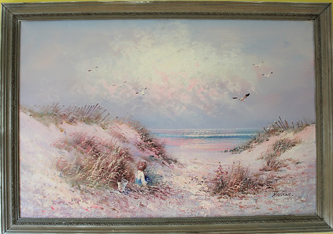 Large Original Oil Painting on canvas seascape, Harbor scene, Signed, Framed