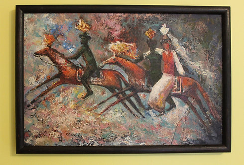 Original Framed Oil Painting on canvas  2006,Signed O.Тургун bride kidnapping