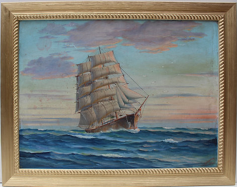 1954 Vintage Oil painting , seascape,Sailing Ship in the High Sea, Signed