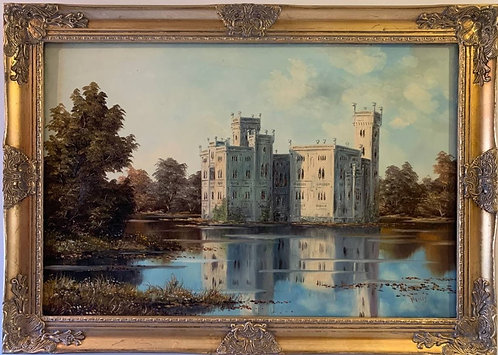 Large oil painting on canvas, Landscape, European Castle view, Signed Homer