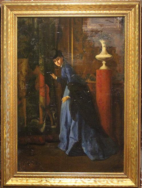 19 cent Antique Oil painting on board, Alix Duval (France,b.1848) portrait