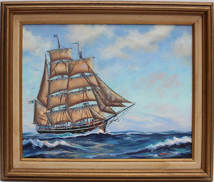 Vintage Oil painting on canvas, seascape, Sailing Ship ,Signed W.M. Correira