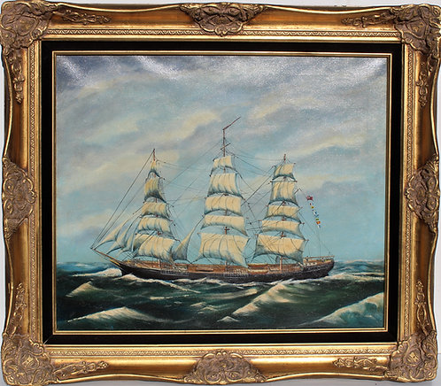 Listed American Artist Herb Hewitt 1978 Oil painting on Canvas, sailing ship
