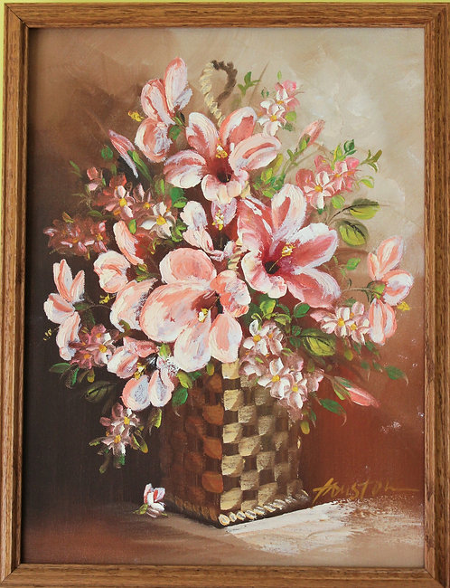 Oil Painting on canvas signed by Houston, Still Life Flower , Framed