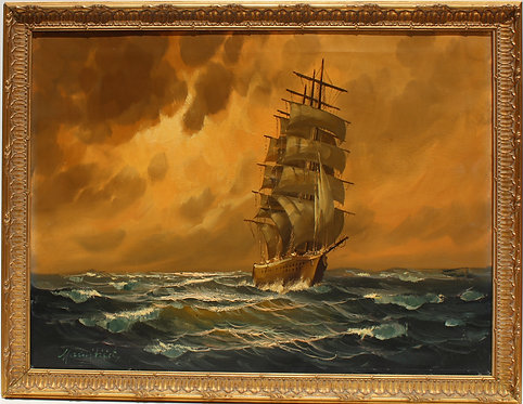 Oil painting on canvas, seascape, Sailing ship on the high seas at Sunset,Signed