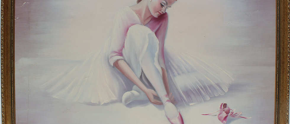 Large vintage oil painting on canvas, R.Young, ballerina, signed, framed