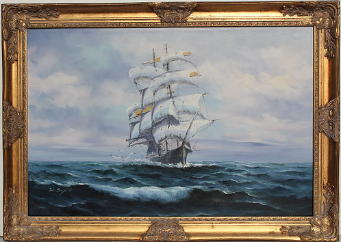 Large Oil painting on Canvas, Sailing ship in the ocean, Signed, Gild frame