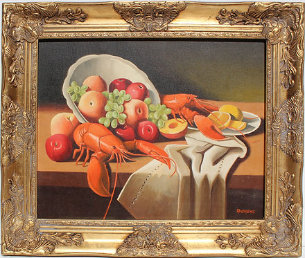 Original Oil Painting on Canvas Still Life Fruit, Lobsters, Framed, Signed