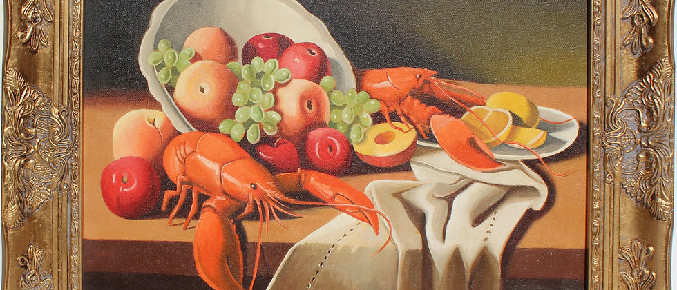 Original Oil Painting on Canvas Still Life Fruit, Lobsters, Framed, Signed