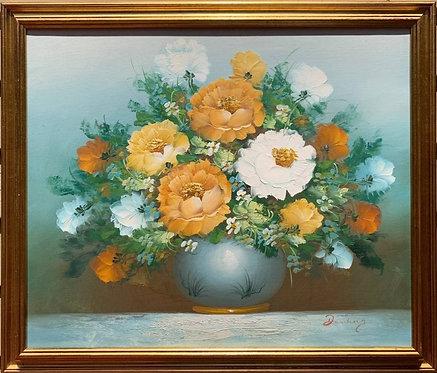 Danish original Still Life oil painting on canvas, Flowers, Signed, Framed