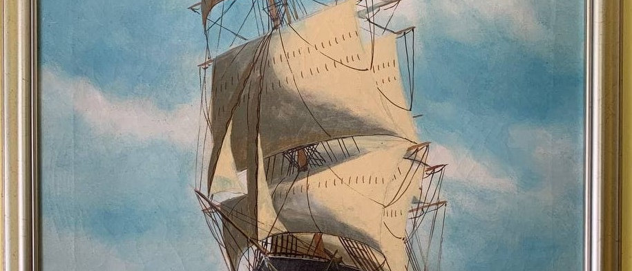 Large Antique T. BAILEY Original Oil Painting on canvas Ship on the Ocean Framed