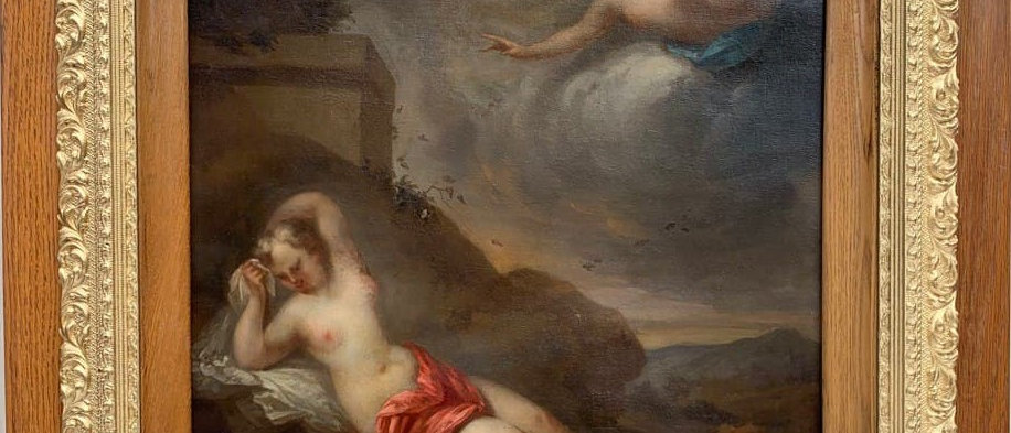 17th Century Antique Original Oil Painting on canvas Goddess And Cherub, Framed