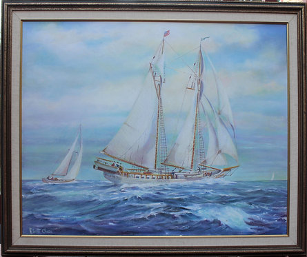 """Original  oil painting on canvas, Sailing ship """"Bill of Rights"""" Signed , framed"""