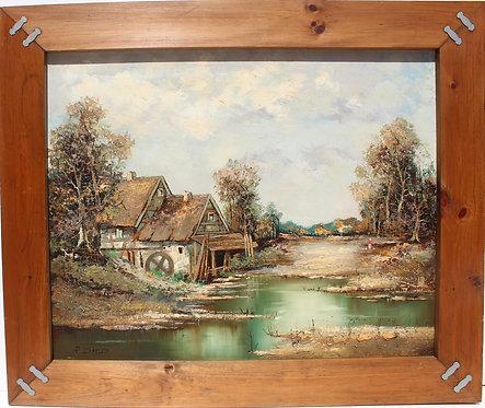 Vintage oil painting on canvas, Rural Landscape, signed R.David, framed