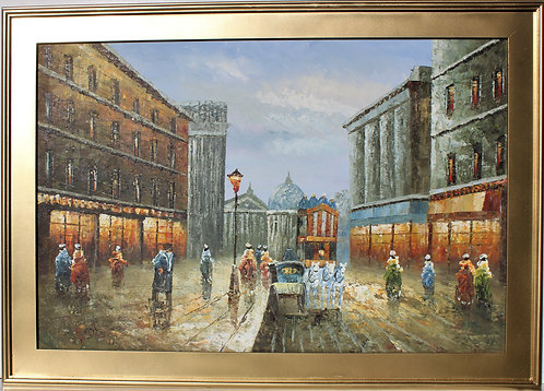 Original oil painting on canvas, cityscape, Paris, signed, framed