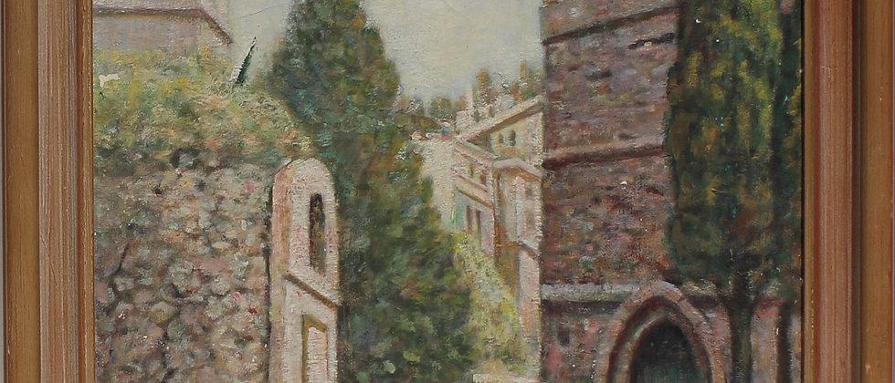 Listed Artist William Ernest Chapman (1858-1947) antique oil painting, cityscape