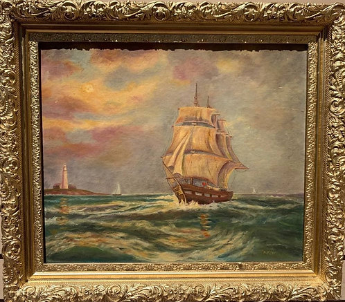 Vintage oil painting on board, seascape, Sailing ships on the Sea, Signed