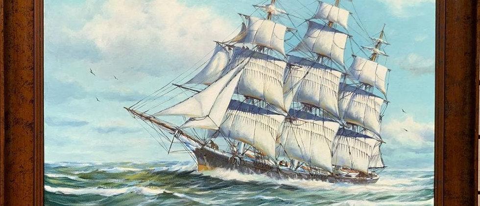 Humberto da Silva Fernandes(1937-2005) Clipper Ship Large Oil Painting on Canvas