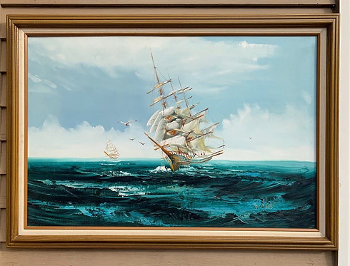 Listed Artist Hewett JACKSON 1914-2007, seascape, Large oil painting on canvas