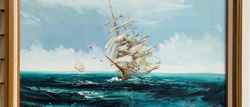 Listed Artist Hewett JACKSON 1914-2007, seascape, Large oil painting on canvas