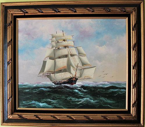Original oil painting on canvas, seascape,Clipper ship, Signed J.James, framed