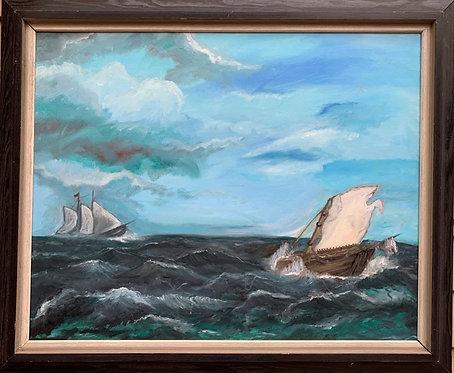 Large Vintage Oil painting on canvas, seascape, Sailing Ships, framed