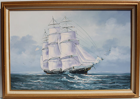 Large oil painting on canvas, Seascape, Sailing ship, Signed K.Haskell, framed