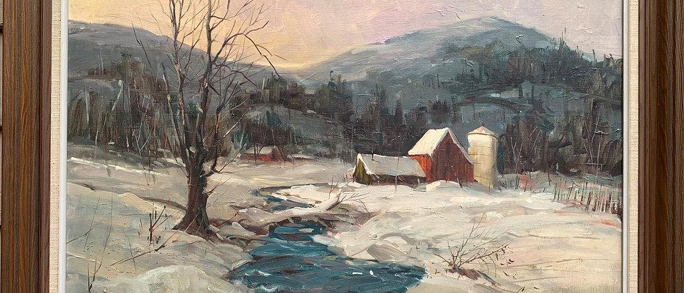 Claude Croney (1926-1993) Vintage oil painting on canvas, winter landscape