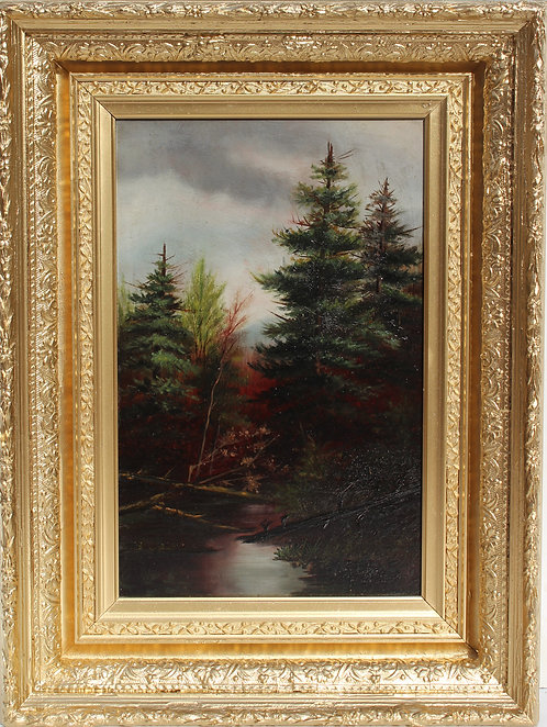 Antique 19th c oil painting on board, landscape, Brook in the Pinewood, Signed