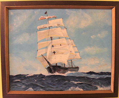 Original vintage oil painting on canvas, seascape, ship, signed