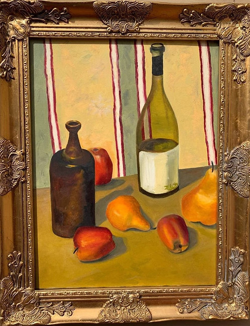 Still Life oil painting on canvas, Fruits, Signed, Framed, Dated