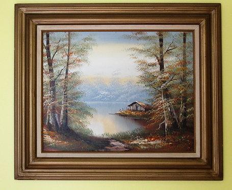 Original Framed Oil Painting on board Landscape,  Signed
