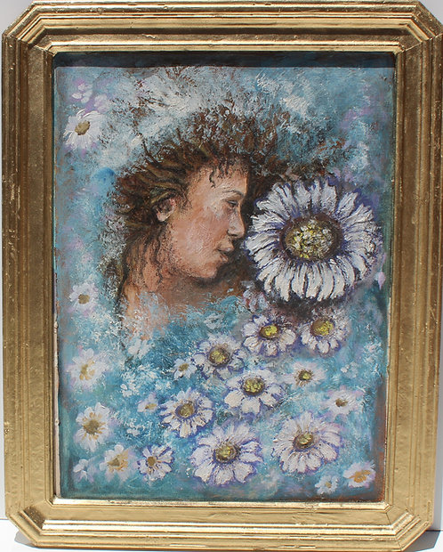 Vintage Oil Painting on Canvas, Portrait of a young woman among flowers