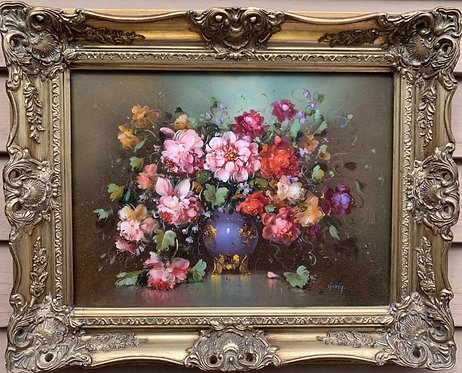 Oil Painting On Canvas, Still life, flowers, bouquet of peonies, Signed, Framed
