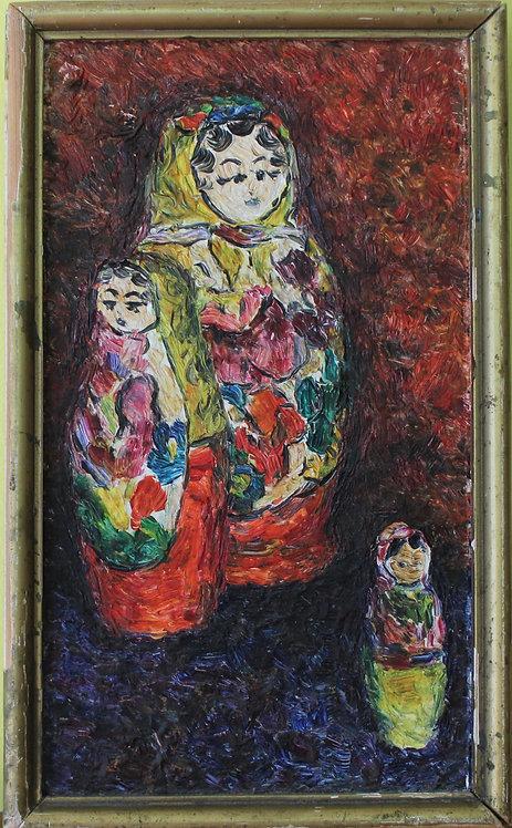 Oil painting on canvas, Russian Matryoshka doll (nested doll (USSR,Soviet Union)
