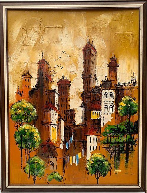 Large oil painting on board, European cityscape, Framed, Signed Thompson