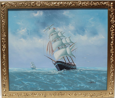 Oil painting on canvas, seascape,Sailing Ships in the High Sea, Signed , Framed