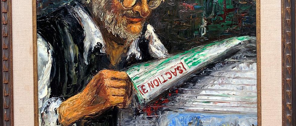 Listed American Artist MORRIS KATZ (1932-2010) vintage oil painting, portrait