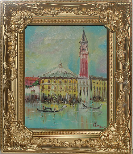 Vintage oil painting on canvas, Venice, Grand Canal, Doge palace view, Signed