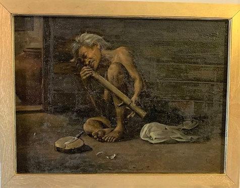 Vintage Danish oil painting on canvas, genre scene, Beggar, Signed, Framed