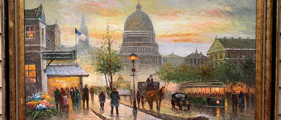 Large Original oil painting on canvas, cityscape, Washington D.C. Capitol,signed